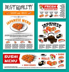 japanese restaurant sushi menu templates vector image