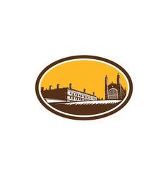 Kings college university cambridge woodcut vector
