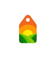 Label farm logo icon design vector