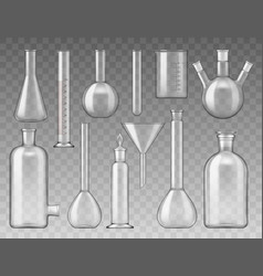 Laboratory flasks test tubes and containers vector