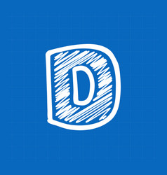 Letter d logo on blueprint paper background vector