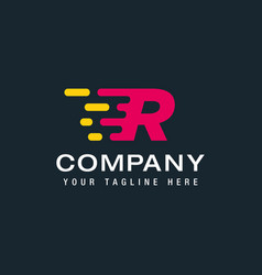 Letter r with fast logo speed moving and quick vector