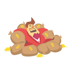 Millionaire rich man laying on money bags filled vector