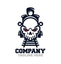 Modern death train and skull logo vector