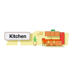 modern kitchen with plants in interior empty no vector image
