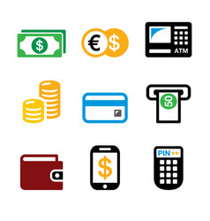 Money atm - cash machine icons set - banki vector