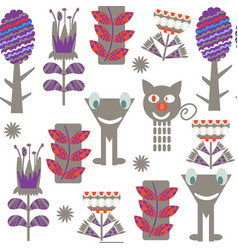monsters fantasy adorable seamless pattern cute vector image