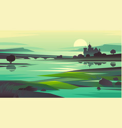 natural landscape in shades green vector image