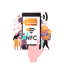 nfc technology concept for web banner vector image