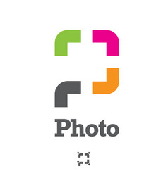 p letter based photo symbol concept vector image