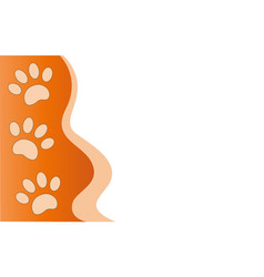 Paw prints animals frame border vector