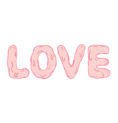 pink love text caligraphy romantic design vector image