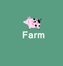 pink pig on a farm vector image
