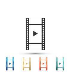 play video icon isolated film strip with play vector image