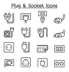 Plug socket icon set in thin line style vector
