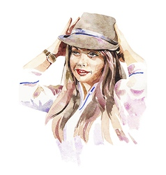 portrait of young women with a hat vector image
