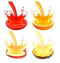pouring juice splash on half of fruit 3d vector image