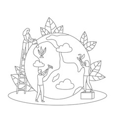 protect nature ecology care earth day line vector image