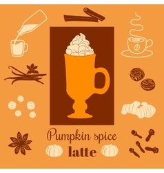 Pumpkin spice latte on orange background vector