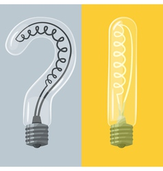Question mark and exclamation mark lightbulbs vector image