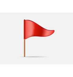 Red Triangular Waving Flag Icon or Logo in vector image