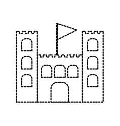 Sand castle flag cartoon beach game recreation vector
