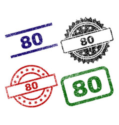 scratched textured 80 stamp seals vector image