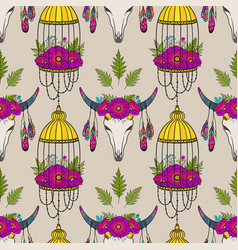 Seamless pattern with cow skull and bird cage vector