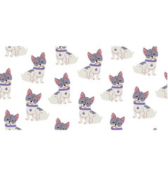 Seamless pattern with cute bulldog dogs vector