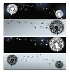 set banners black grey with dandelion fluff vector image