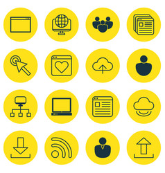 set of 16 online connection icons includes human vector image