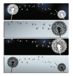 Set of banners black grey with dandelion fluff vector