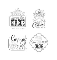 set of circus and mardi gras carnival signs vector image
