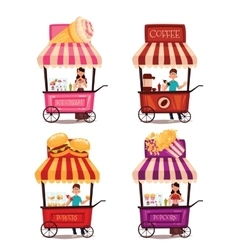 Set of different carriages with fast food vector