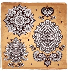 Set of Indian floral ornaments Mandala Henna vector image