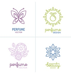 Set of perfume and cosmetics logo design templates vector