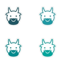 Set of stickers Indian cow on white background vector