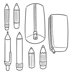 set pencil and pencil case vector image