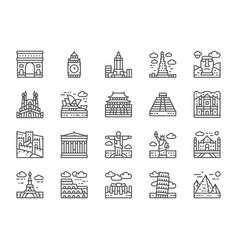 Set world landmark line icons egypt italy vector