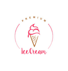 simple flat design ice cream logo modern vintage vector image