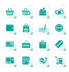 Stylized shopping and retail icons vector