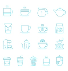 Thin lines icon set - coffee and tea vector image vector image
