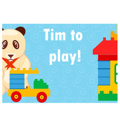 time to play colorful poster with toys on blue vector image