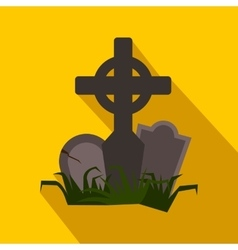 Tomb flat icon with shadow vector