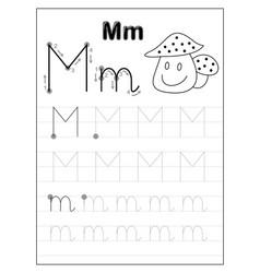 Tracing alphabet letter m black and white vector