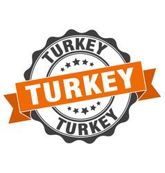 turkey round ribbon seal vector image