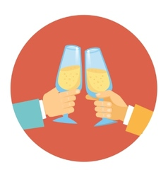 Two men toasting with champagne vector