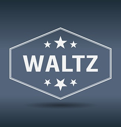 Waltz hexagonal white vintage retro style label vector