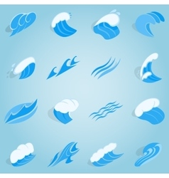 Water wave set icons isometric 3d style vector