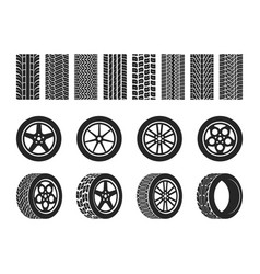 wheel tires car tire tread tracks motorcycle vector image
